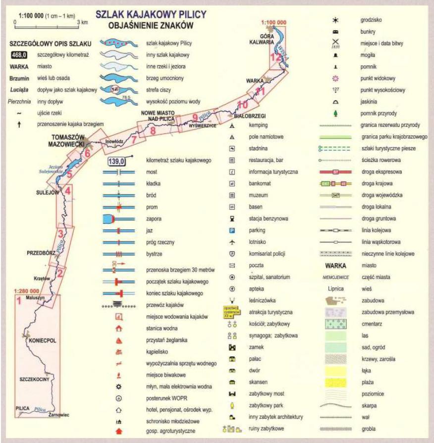 Szlak kajakowy Pilicy - objaśnienia